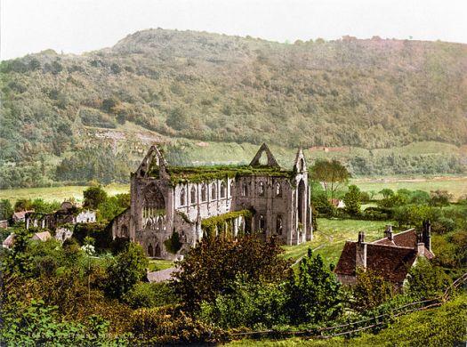 Tintern Abbey in 1900. Image in the public domain, via Wikipedia.