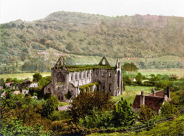 Tintern Abbey in 1900. Image in the public domain, via Wikipedia.
