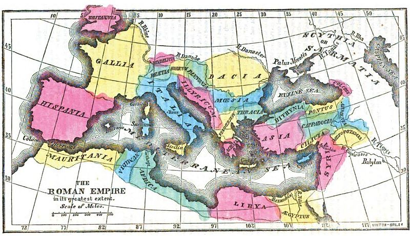 The Roman Empire at its pinnacle. I've been staring at this for quite some time. Image in the public domain, via Wikipedia.